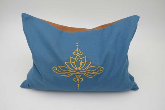 Kräuterkissen mit Lotusblüte, Kissenbezug Lotus, Biokissen, blau