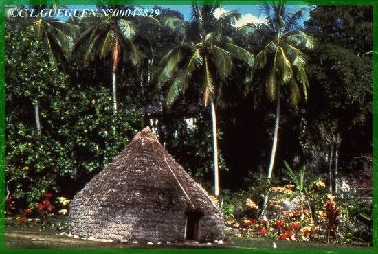 Faré à Ouvéa...Ce qui sert d'habitation! Et toujours avec la flêche faîtière sur le toit.