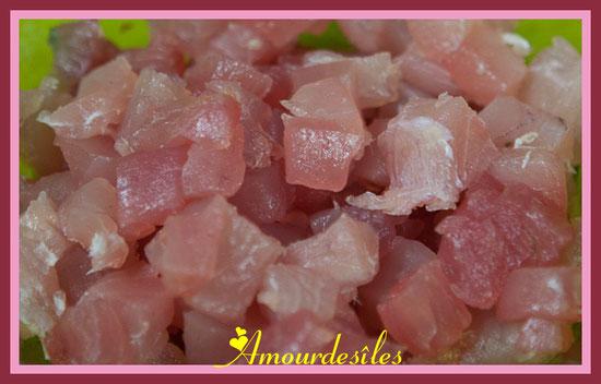 Cubes de thon frais