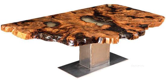 Exklusiver Esstisch aus Kauri Wurzelholz, feuchtigkeitsresistente Naturholz Tischplatte, besonderer Esstisch