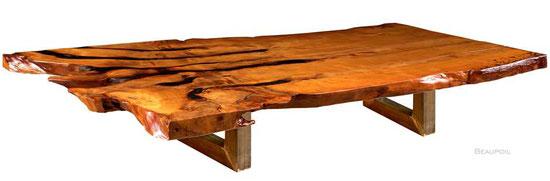 Konferenztisch ein Stück Kauri Holz, außergewöhnlicher Holztisch mit herausragender Tischplatte, beeindruckendes Unikat aus riesigem Kauri Baum mit Wurzel und Stamm