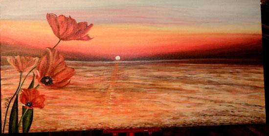 """""""Tramonto sul mare con papaveri""""_acrilico su tela_40x80_2014"""