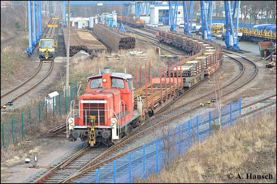 362 551-4 ist am 18. Februar 2015 in Leipzig-Engelsdorf bei der Arbeit zu sehen