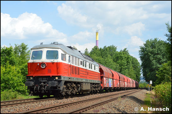 232 189-1 verlässt am 22. Mai 2018 mit einem Gipszug den Rbf. Chemnitz-Küchwald