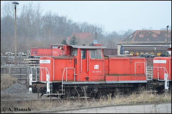 Am 21. März 2015 entstand dieses Bild von 363 675-0 in Espenhain. Die Lok gehört der PRESS