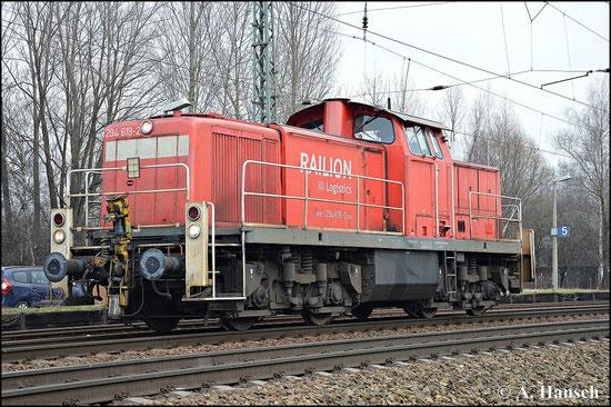 294 619-2 kommt Lz am 18. Februar 2015 durch den Bahnhof Leipzig-Thekla gefahren