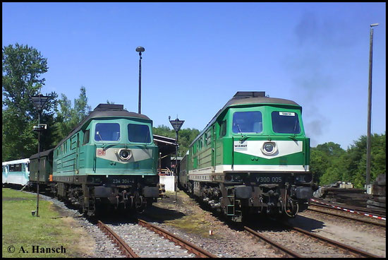 232 155-2 (V300 005) ist am 24. Mai 2009 im Bw Schwarzenberg zu Gast