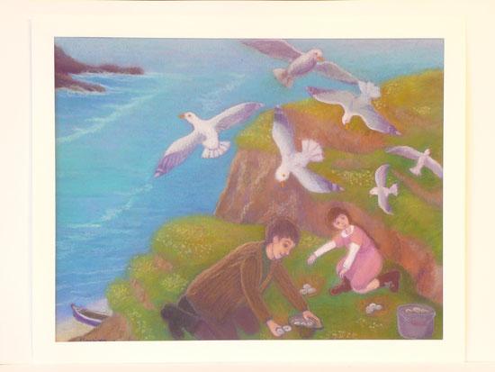 Gathering the seagull eggs 42.5cmx52.5cm