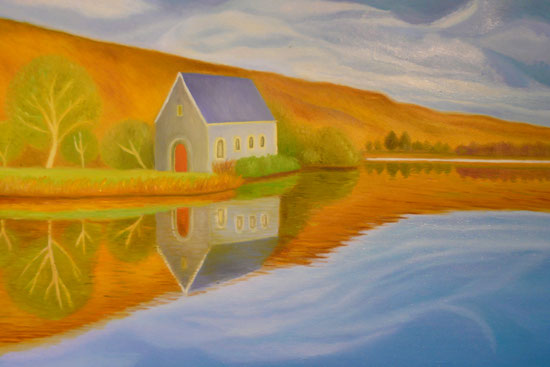 A house in the Octoberlight 40x60cm