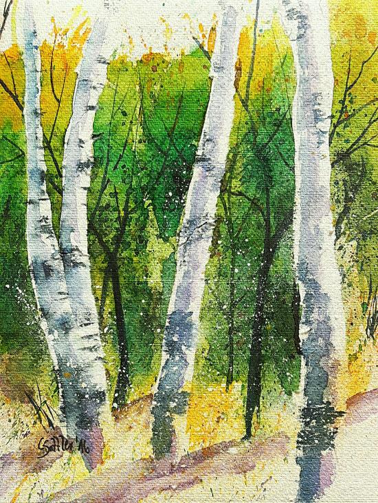 Bild in Aquarell, 25 x 25 cm, Blüten, rot, violett, gelb, bunter Strauß, hell