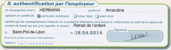 Authentification par l'employeur (cadre 8)