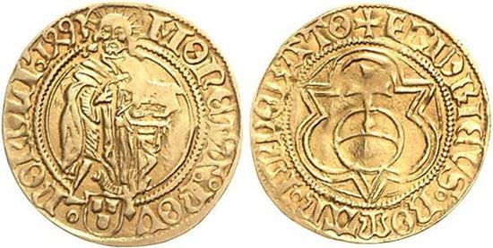 Kaiser Friedrich III., Goldgulden 1493, Münzstätte Nördlingen. Gold. Durchmesser ca. 23,5 mm. Gewicht ca. 3,25 g. Johannes der Täufer/Reichsapfel im Dreipass. (Foto: Westfälische Auktionsgesellschaft, Auktion 47, 2008, Nr. 1123)