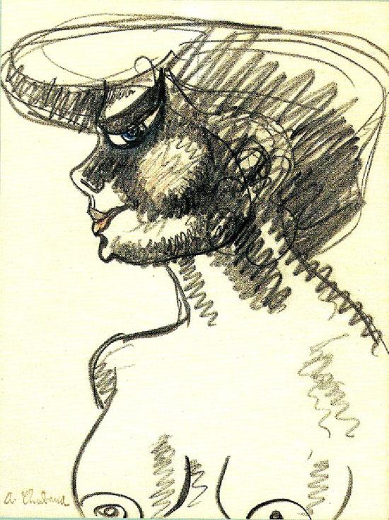 BUSTE DE FEMME. vers 1907. Crayon et crayons de couleur sur papier, signé en bas à gauche, 31 X 23 cm. C* G. & A; PENTCHEFF