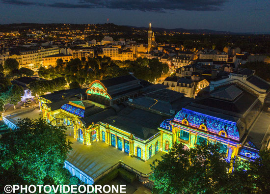 Mapping Vichy Lumières sur le Palais des Congrés-Opéra en Drone Vichy Destination