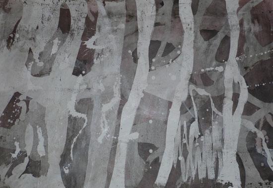 ohne Titel: 70 x 100 cm. Wachsreserviertechnik, Acrylmalerei. 2011-2012