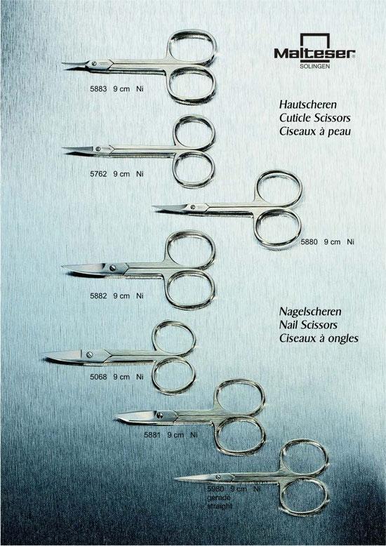 Malteser Katalogseite 4 mit Hautscheren / Cuticle Scissors / Ciseaux à  peau und Nagelscheren / Nail Scissors / Ciseaux à ongles