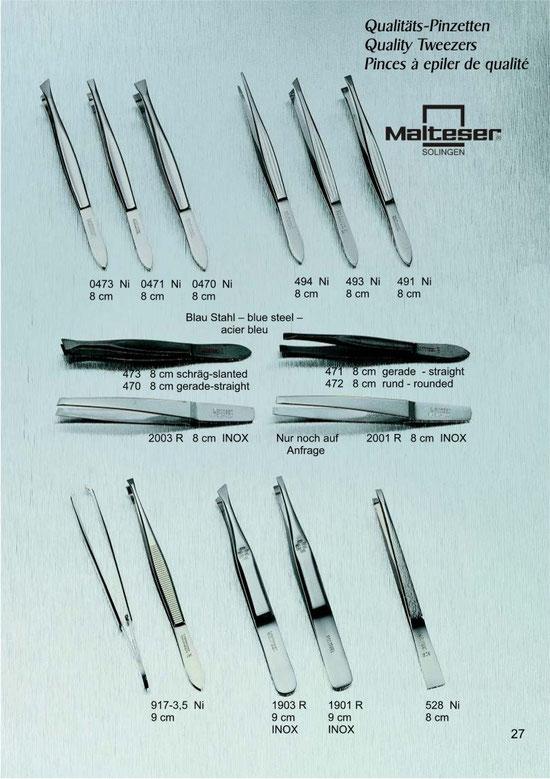 Katalogseite 27 Qualitätspinzetten / Quality Tweezers / Pinces à epiler de qualité