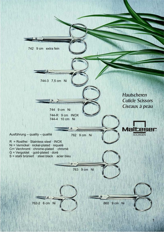 Malteser Katalogseite 1 mit Hautscheren / Cuticle Scissors / Ciseaux à  peau