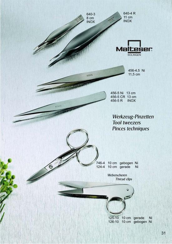 Malteser Katalogseite 31 mit Werkzeug-Pinzetten / Tool tweezers / Pinces techniques