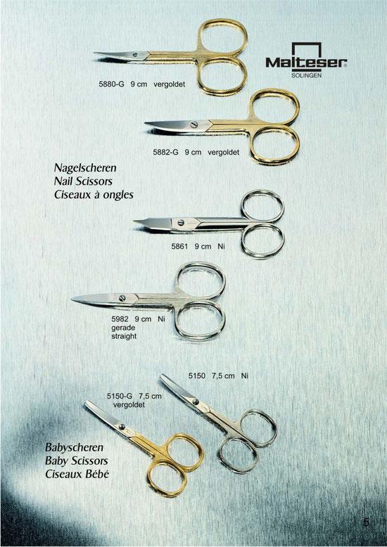Malteser Katalogseite 5 mit Nail Scissors / Ciseaux à ongles und Babyscheren / Baby Scissors / Ciseaux Bébé