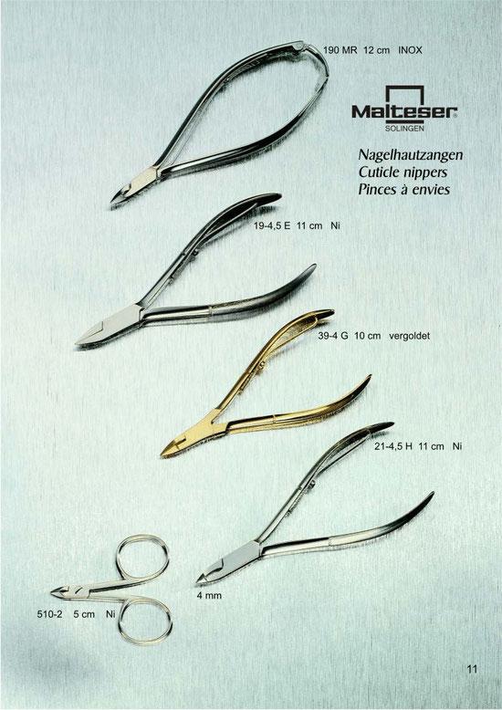 Katalogseite 11 mit Hautzangen / Cuticle Nippers / Pinces à envies