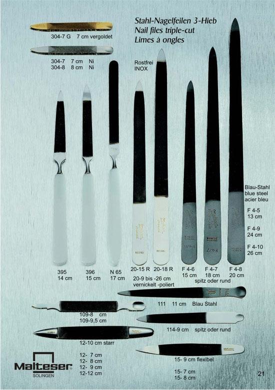 Katalogseite 21 mit Abbildungen von Stahl-Nagelfeilen 3-Hieb / Nail files triple-cut / Limes à ongles
