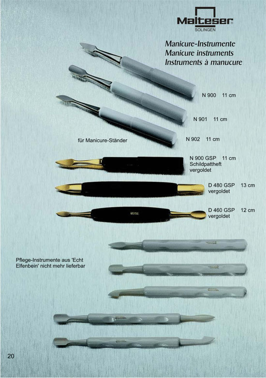 Katalogseite 20 mit Abbildungen von Maniküre Instrumente / Manicure Instruments / Instruments à manucure