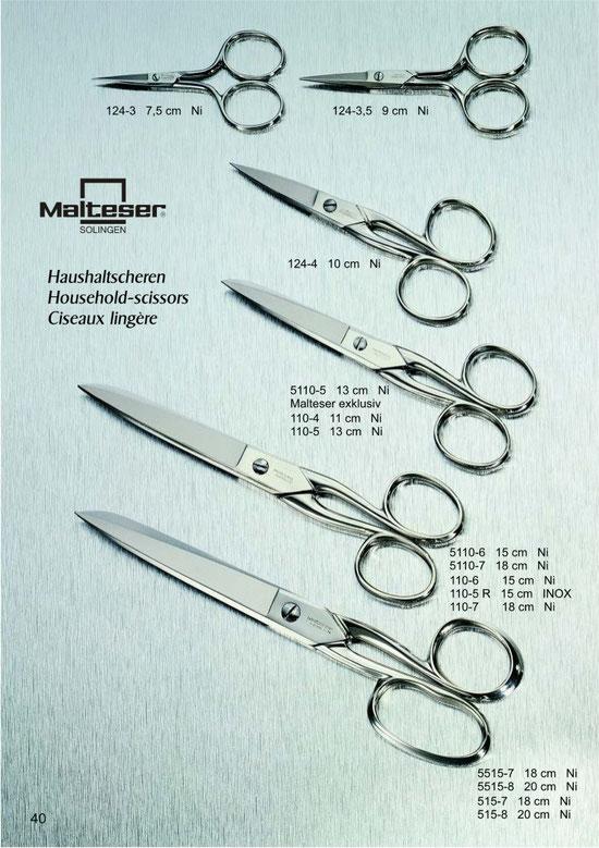 Malteser Katalogseite 40 mit Haushaltscheren / Household Scissors / Ciseaux lingère