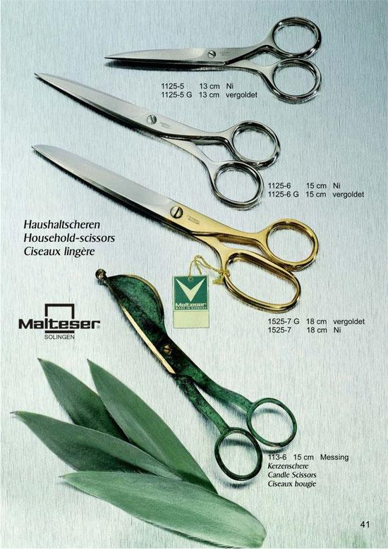 Malteser Katalogseite 41 mit Haushaltscheren / Household Scissors / Ciseaux lingère