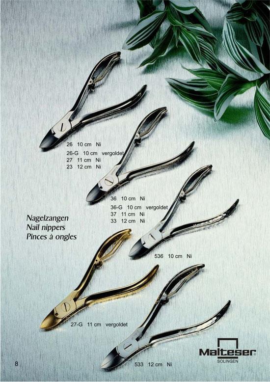 Katalogseite 8 mit Nagelzangen / Nail nippers