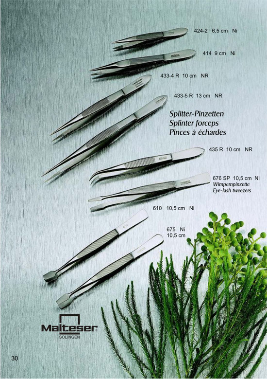 Katalogseite 30 mit Splitter Pinzetten, Wimpernpinzetten/ Splinter forceps and Eye-lash tweezers / Pinces á échards