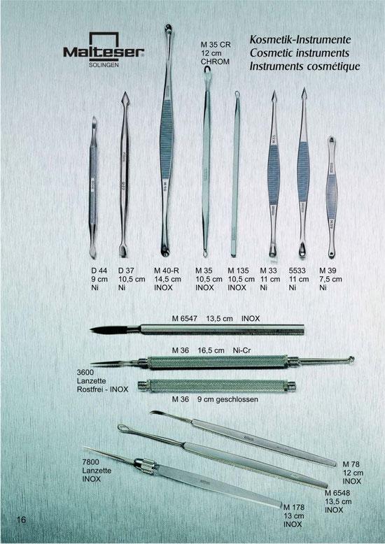 Katalogseite 16 mit Abbildungen von Kosmetik Instrumente / Cosmetic Instruments / Instruments Cosmétique