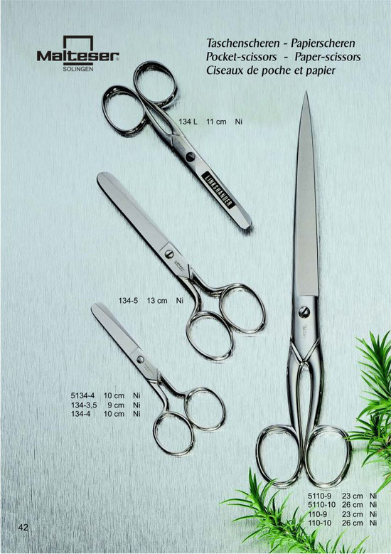 Malteser Katalogseite 42 Taschenscheren, Papierscheren / Pocket scissors, Paper Scissors / Ciseaux de poche et papier