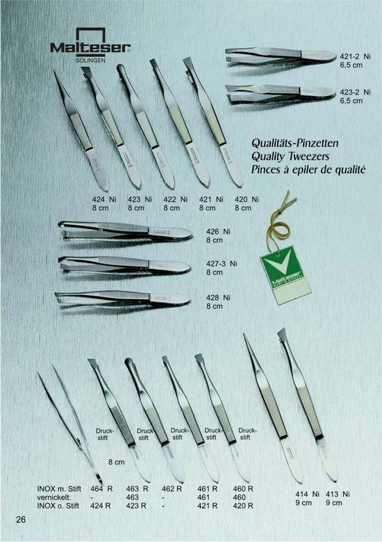 Katalogseite 26 mit Qualitätspinzetten / Quality Tweezers / Pinces à epiler de qualité