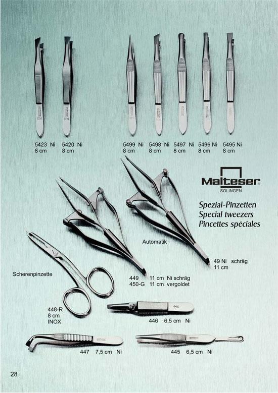 Katalogseite 28 mit Spezial-Pinzetten, Automatik Pinzetten, Scherenpinzetten / Special tweezers, automatic tweezers, scissor tweezers / Pincettes spéciales