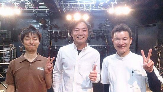 左から【39Raku Raku・DAIZO】中央【越谷BASE・松田先生】右【流カイロプラクティック院・流院長】宜しくお願いします♪