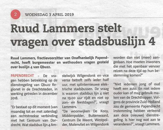Artikel in Papendrechts Nieuwsblad 3 april 2019