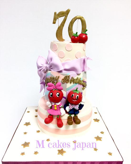 3段模様違いケーキ #70歳 #pattern #イメージキャラクター #トマト #模様 #パターン #fondantcake #fondant #tomato #character