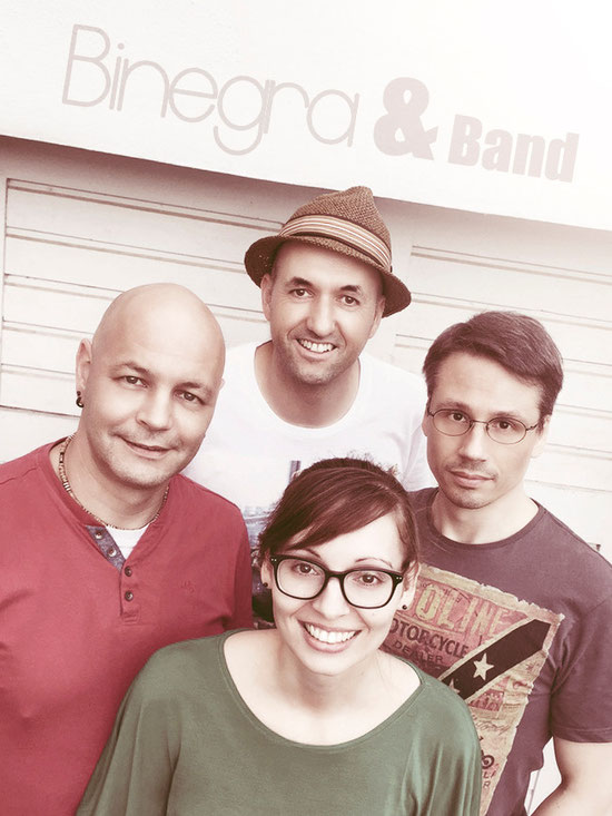 """Binegra & Band"": Carsten (links), René (hinten), Binegra (vorne) und Marco (rechts)"