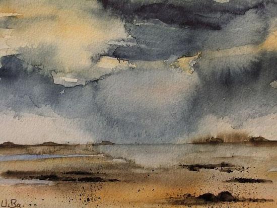 Dunkle Wolken überm Watt