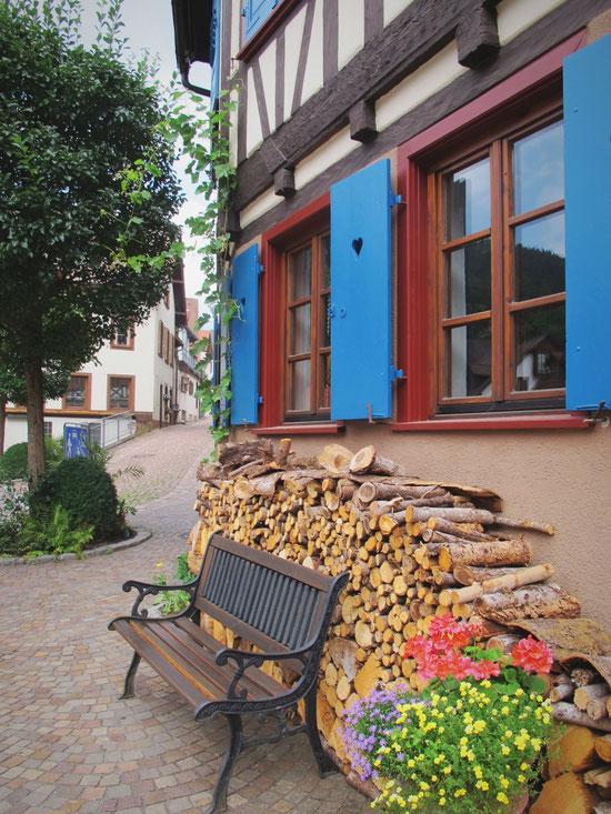 bigousteppes allemagne village maison banc volets bleu bois pavés