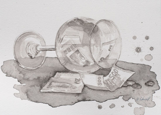 """""""Weinglas mit Geld"""", 2019, Tusch auf Aquarellpapier, 15,8 x 11,5cm"""