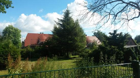 Die rechte Seite vom linken Doppelhaus ist unsere - bei Sonnenschein und soviel Grün freuen wir uns schon auf die Aussicht aus dem Badfenfenster!