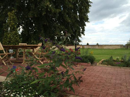 La terrasse au mois d'août: l'arbre aux papillons est en pleine floraison...