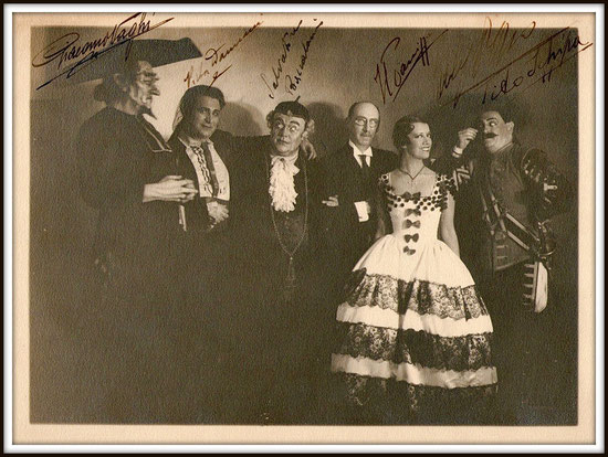 Barbiere di Siviglia Buenos Aires Teatro Colón 1934 - da sinistra: Giacomo Vaghi, Victor Damiani, Salvatore Baccaloni, Héctor Panizza, Lily Pons, Tito Schipa