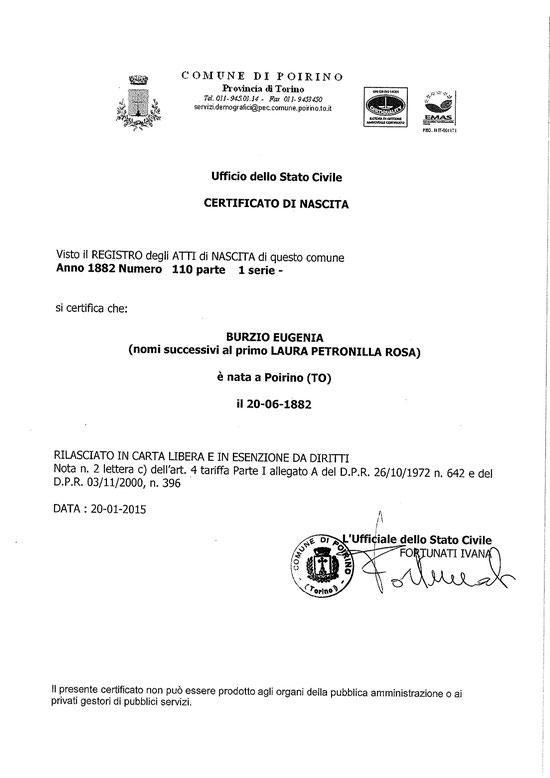 Copia del certificato di nascita di EUGENIA BURZIO (per gentile concessione del Signor Beppe Zanotti Fregonara