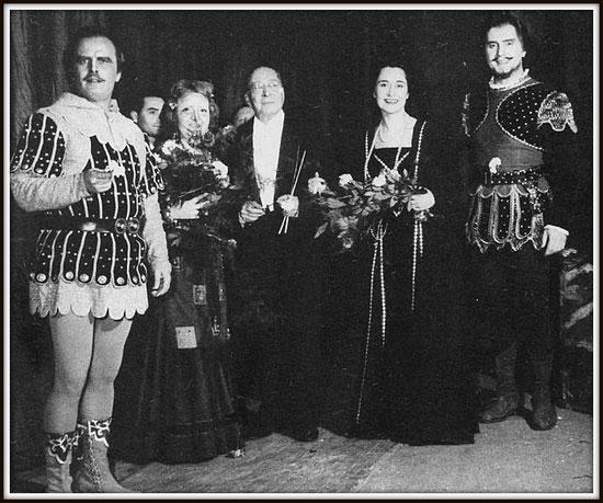 Il Conte di Luna - IL TROVATORE - con da sinistra: Mario Filippeschi (Manrico), Dora Minardi (Azucena), Vincenzo bellezza (Direttore), Leyla Gencer (Leonora), Bastianini - Trieste Teatro Verdi 16.11.1957