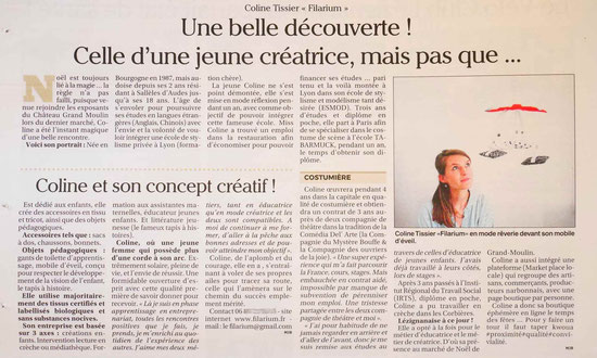FILARIUM - Coline Tissier - article presse