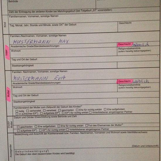 Alex Schönherr, 20.1.2015 Krone: Geburtsformular im Spital sorgt für Verwunderung