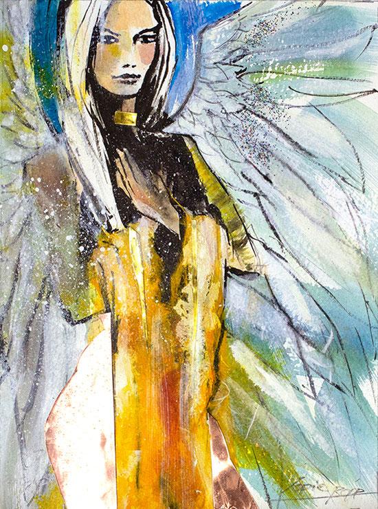 Engelbilder, Folge Deinem herzen, Leinwandbild, Kunstdruck, Poster, gemalt von Jopie Bopp